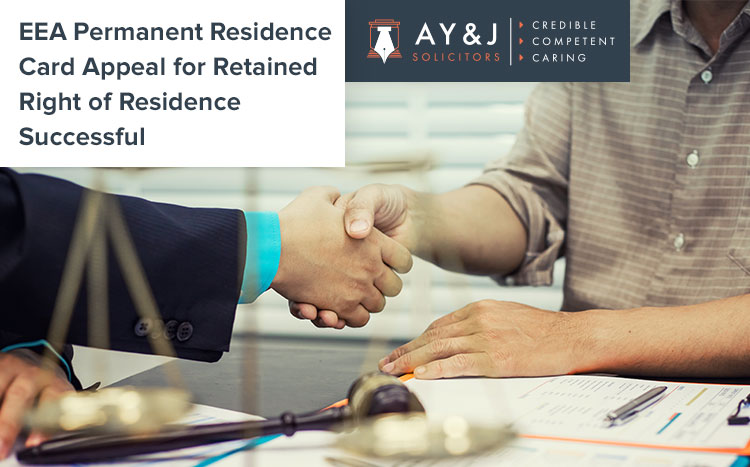 EEA Permanent Residence Card Appeal for Retained Right of Residence Successful