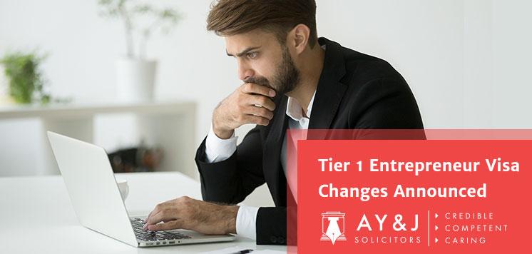 Tier 1 Entrepreneur Visa Changes Announced